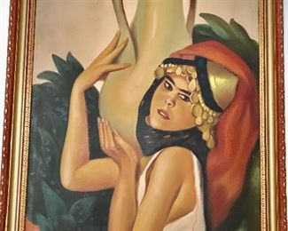 20th C. Oil of an exotic female