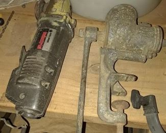 Black and Decker Angle Grinder, Cord Missing? and Vintage Metal Table/Counter Mount Meat Grinder in non-working Condition