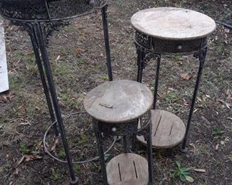 Marble Top Metal Plant Stands