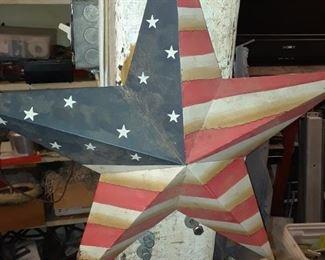 Metal Star American Flag Americana Yard Art