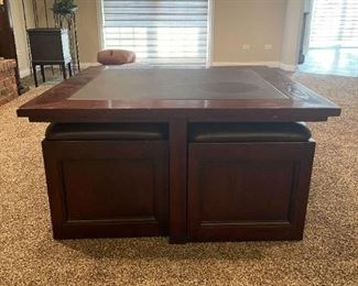 """LOT 6606 Leather and Wood Square 3'6"""" Coffee Table with chairs and storage $400"""