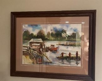 """LOT 6615 Boat and pier watercolor 2'3"""" width x 1'9"""" height $250"""