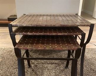 """LOT 6619 Set of three nesting metal tables 2' with x 1'5"""" (largest) $400"""