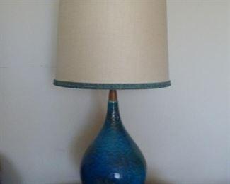 Super cool Mid Century atomic drip glaze table lamp with teak.