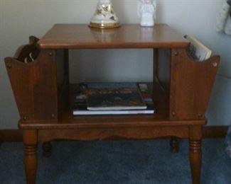 Mid Century maple double sided magazine table.