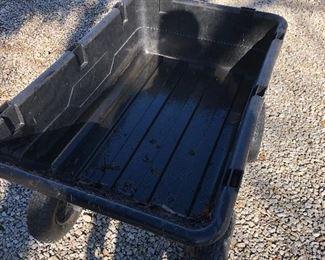 """#4) $65 - Gorilla rubber dump cart with pneumatic wheels, 42"""" x 26"""" x 26"""" tall"""