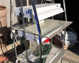"""#9) $150 - Portable electric, triple stacked UV light, growing light set, each light is two feet long, double-bulbed lights, 26"""" x 24"""" x 67"""""""