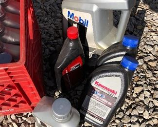 #15) $75 - 17 assorted containers of Mobil 1 Synthetic Motor Oil, 5W-30, 5W-20, and 4-cycle engine oil