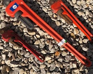#16) $25 - Set of 3 heavy-duty steel pipe wrenches, 10 inch, 12 inch, and 24 inch