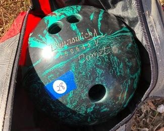 #28) $20 - Brunswick Comet, mid-century bowling ball (14-lb.) with case