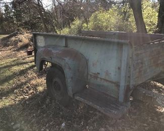 #40) $300 - Rustic pick-up-bed trailer, late 1950s or early 1960s, with trailer hitch and tongue