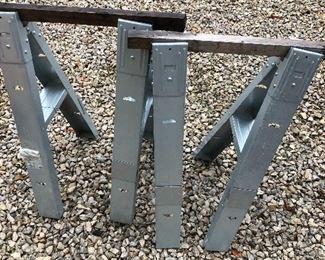 #52) $10 - Pair of Metal Sawhorse Frames.
