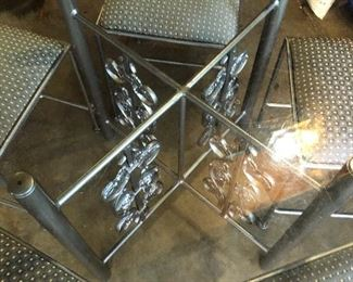 #60) $325 - Iron Table with Glass Top and 5 Iron/Fabric Chairs.  48 inch table.