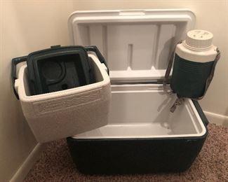 #61b) $35 - Coleman 34qt cooler, 6 pack cooler, and 1 liter canteen
