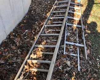 #66) $20 - 32 foot extension ladder plus extra ladder rungs.