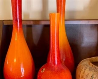 Vintage Royal Haegar red and orange firecracker vases