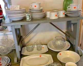Bennington Pottery white agate bowls, plates, mugs and serving trays in like new condition