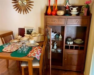 Kitchen table and 4 chairs and kitchen hutch by Canadel furniture, antique bone china and crystal