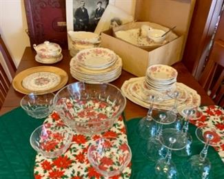 Antique bone china, photographs and cut crystal