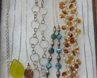 Vintage, sterling silver, precious stone and modern necklaces galore!
