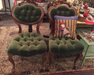 Victorian green velvet chairs