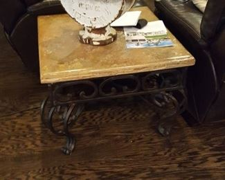 Iron tables with marble top