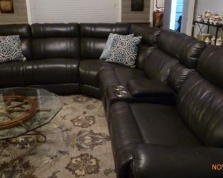 NEW Charcoal Grey Leather Sectional - Perfect Condition - Reclines