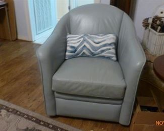 NEW Soft Blue Leather Swivel Chair - Perfect Condition