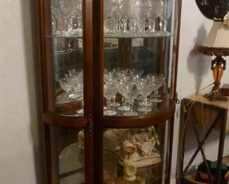 All Curved Glass Curio Cabinet - Lighted - perfect condition