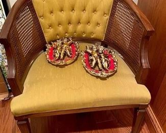 Vintage wicker Upholstered Chair