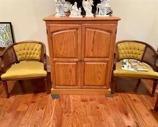 Solid Oak TV Cabinet Armoire