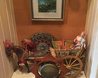 Folk art wood cart