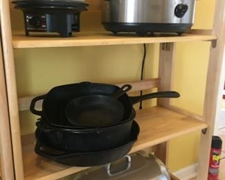 Some of the kitchen items: small appliances, cast iron, Wagner ware Magnalite