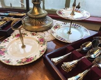 """Love these Royal Albert """"Old Country Rose Tea Serving Tiered and Single with handle"""