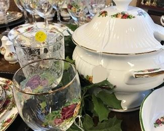 """Wonderful Royal Albert """"Old Country Rose"""" Water Glasses and Tumbers, Tureen in the background."""