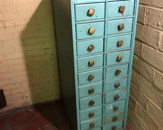 """Measures approximately 19 3/4"""" across by 25 1/4"""" deep by 53"""" tall.  Drawers can be turned around to show a wood face."""