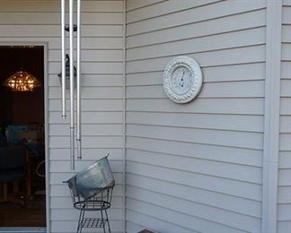 Wind Chimes, Bench and Planter