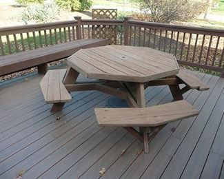 Octagonal Picnic Table and Benches