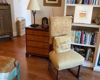 Bachelors chest, side chair