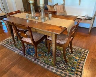 Farm table, chairs, Kilim rug