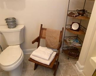 Vintage folding chair, corner shelf