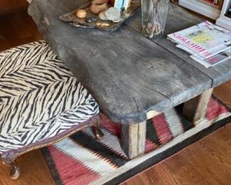 Live edge table, foot stool