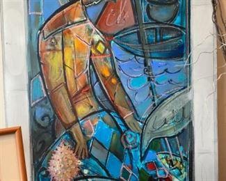 Bill Rane acrylic on canvas, art glass sculpture