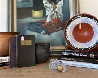 Linda Martin painting, miscellaneous pottery, vintage books