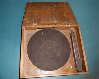 Vintage record player in a wooden box