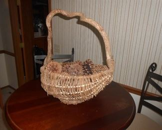 Unique basket with a branch handle