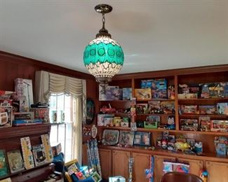 Vintage Light Fixture and Toy display