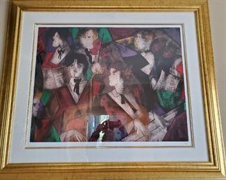 """""""Grand Orchestre"""" Linda Le Kinff framed signed lithograph. Litho dimensions: 31 1/2 x 25. Framed dimensions: 45 1/2 x 39 - $300"""
