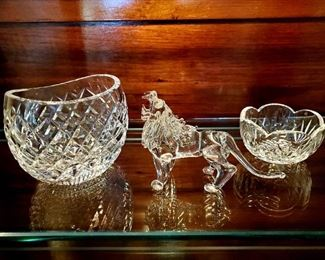 Waterford oval bowls, crystal lion