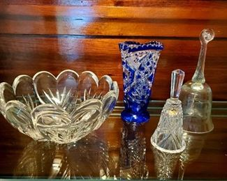 Marquis by waterford bowl, Czech crystal vase, crystal bells